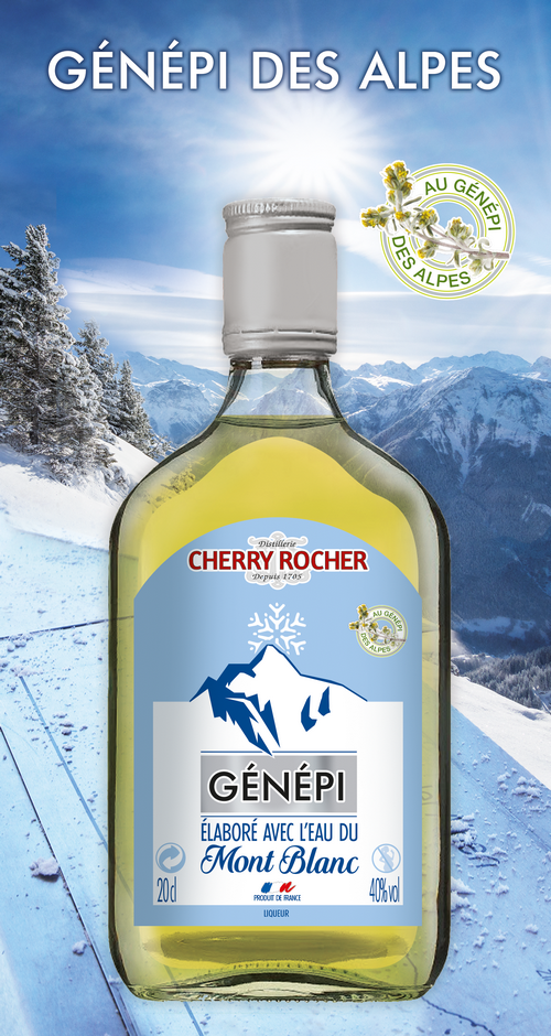 Flask of Genepi made with the waters of the Mont Blanc - Cherry Rocher
